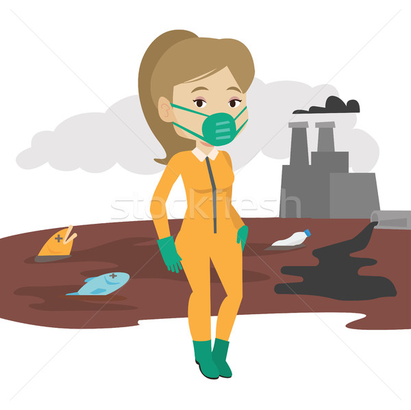 Mulher radiação terno mulher jovem em pé nuclear Foto stock © RAStudio