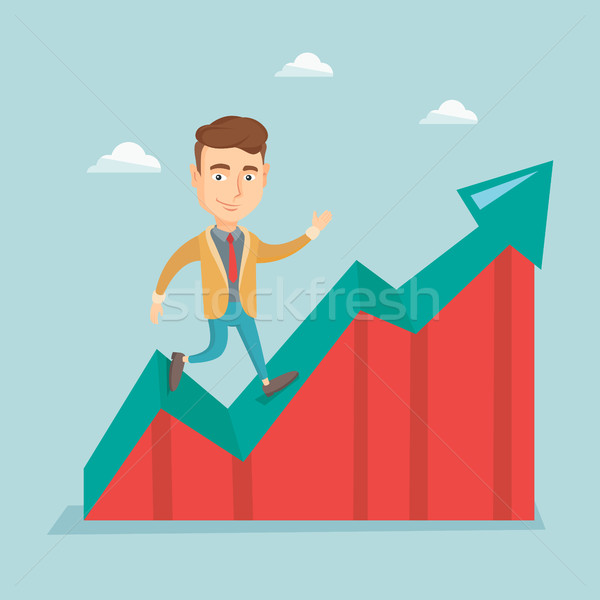 Business man standing on profit chart. Stock photo © RAStudio
