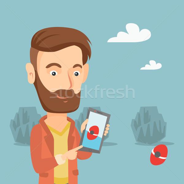 Stock fotó: Férfi · játszik · tevékenység · játék · okostelefon · hipszter