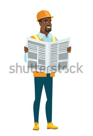 African-american builder reading newspaper. Stock photo © RAStudio