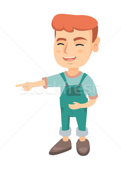 Caucasian boy bullying someone and pointing finger Stock photo © RAStudio