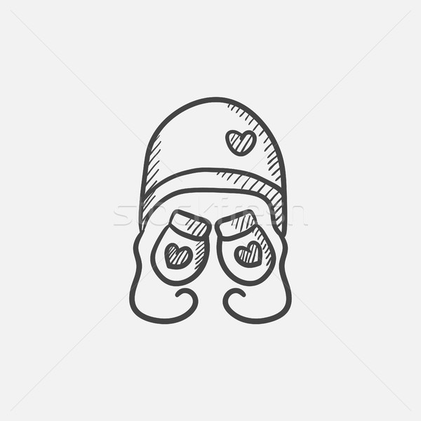 Hat and mittens for children sketch icon. Stock photo © RAStudio