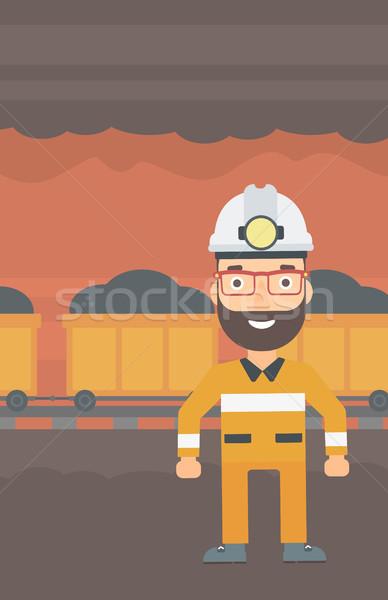 Confident miner in hardhat. Stock photo © RAStudio