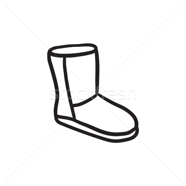 Fuzzy winter boot sketch icon. Stock photo © RAStudio
