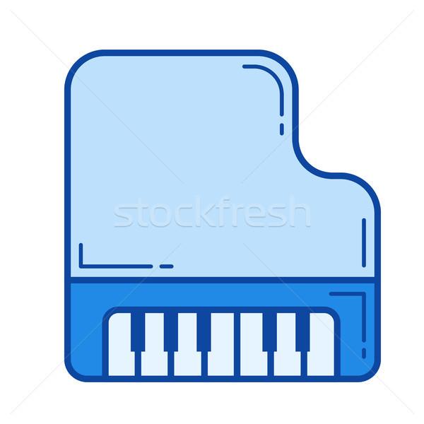 Vleugelpiano lijn icon vector geïsoleerd witte Stockfoto © RAStudio