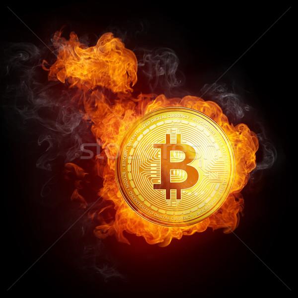 Stock fotó: Arany · bitcoin · érme · zuhan · tűz · láng