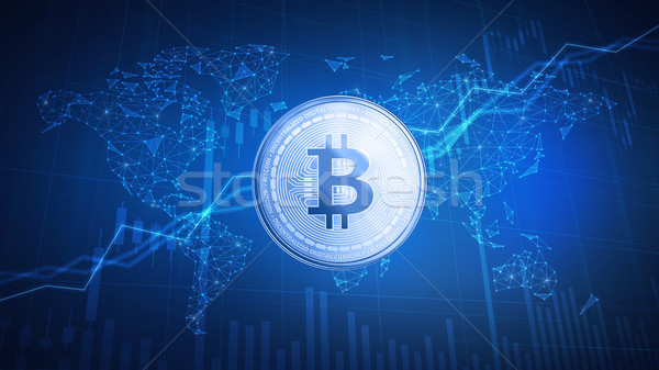 Bitcoin cash coin on hud background with bull stock chart. Stock photo © RAStudio
