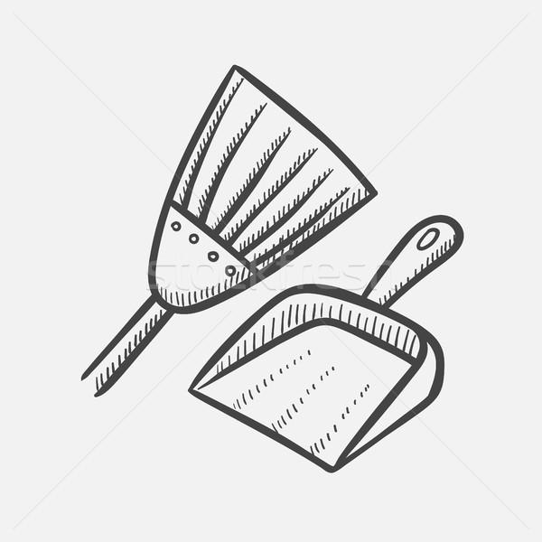 Scoop and broom hand drawn sketch icon. Stock photo © RAStudio