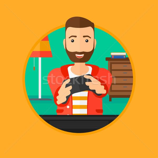 Photo stock: Homme · jouer · jeu · vidéo · heureux · télévision · excité