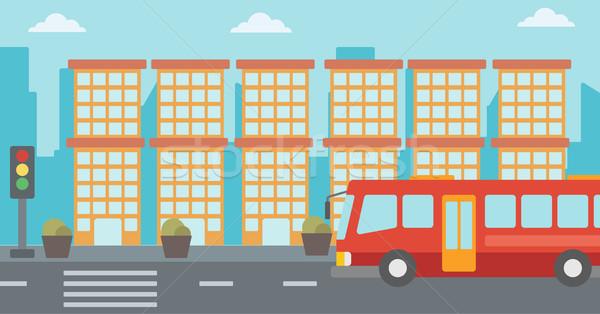 現代 市 赤 バス 信号 ストックフォト © RAStudio