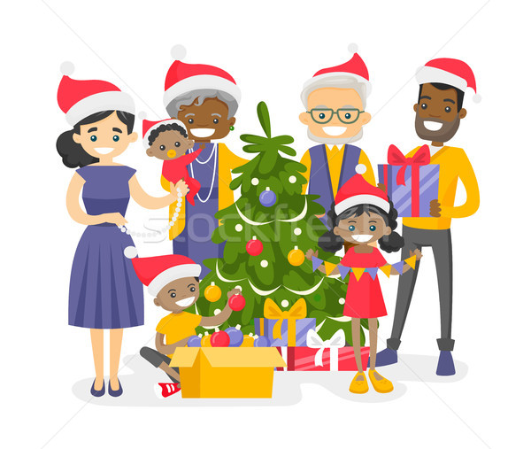 Big biracial family decorating the Christmas tree. Stock photo © RAStudio