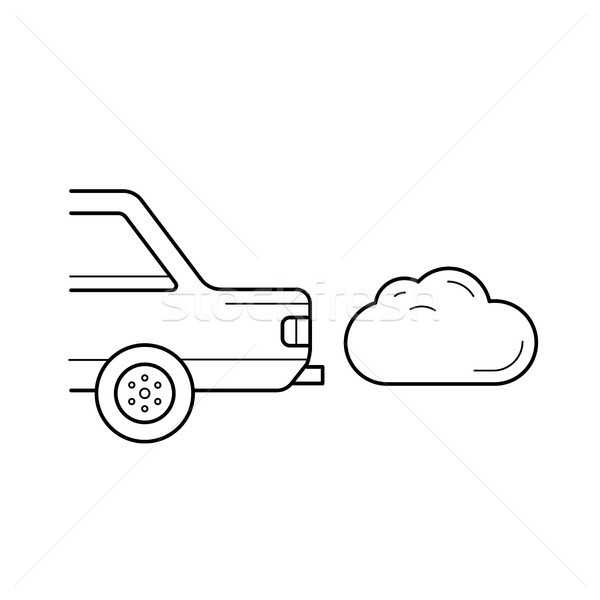 CO2 emission vector line icon. Stock photo © RAStudio