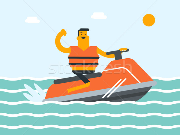 Caucasian white man riding a jet ski scooter. Stock photo © RAStudio