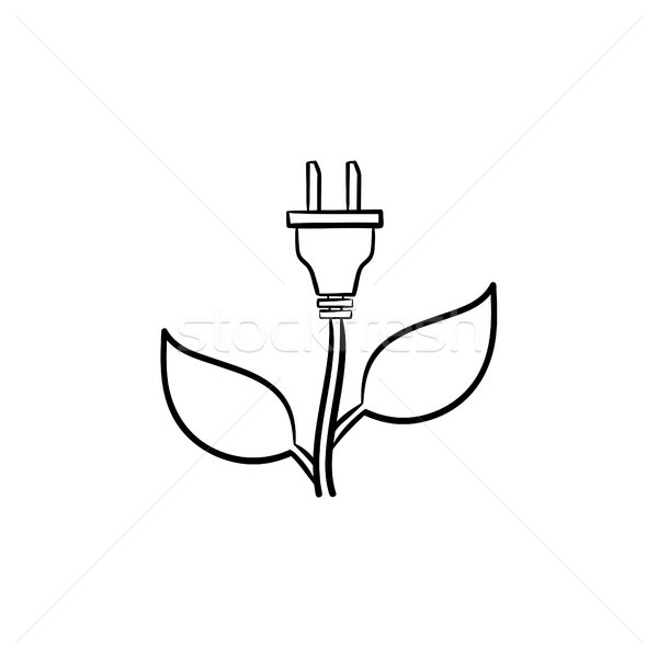 Energy plug hand drawn sketch icon. Stock photo © RAStudio