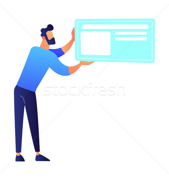 Businessman holding big ID card vector illustration. Stock photo © RAStudio