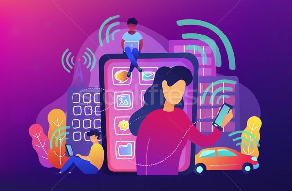 Radio champs influencer personnes différent électronique Photo stock © RAStudio