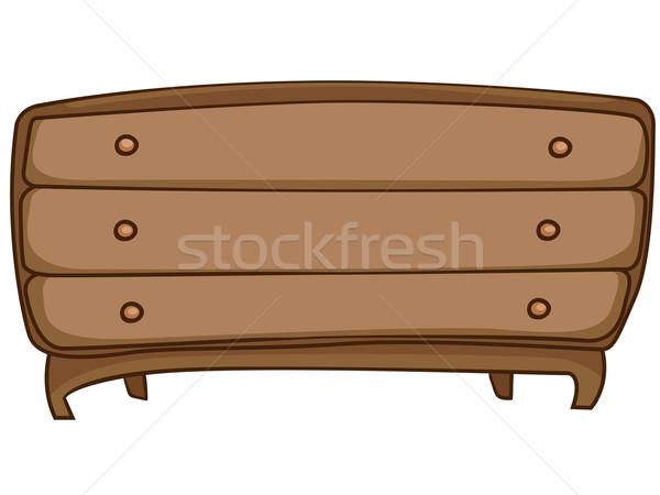 Cartoon maison meubles poitrine tiroirs isolé Photo stock © RAStudio