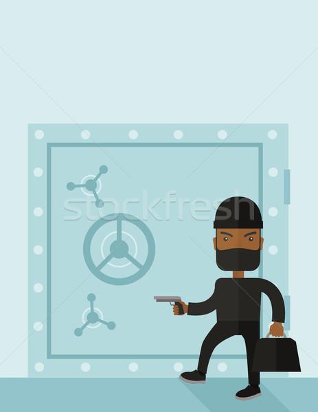 Man zwarte hacking bank veilig Stockfoto © RAStudio