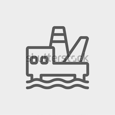 Offshore olie station dun lijn icon Stockfoto © RAStudio