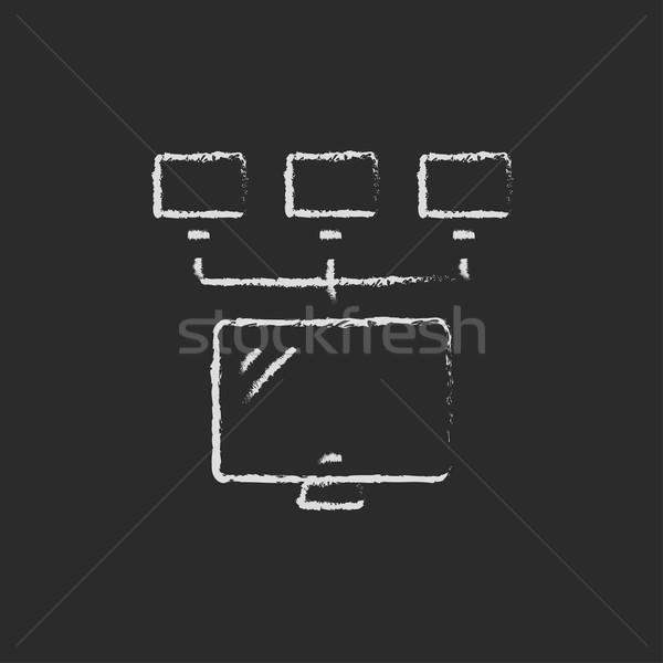 Scherm camera krijt Blackboard Stockfoto © RAStudio