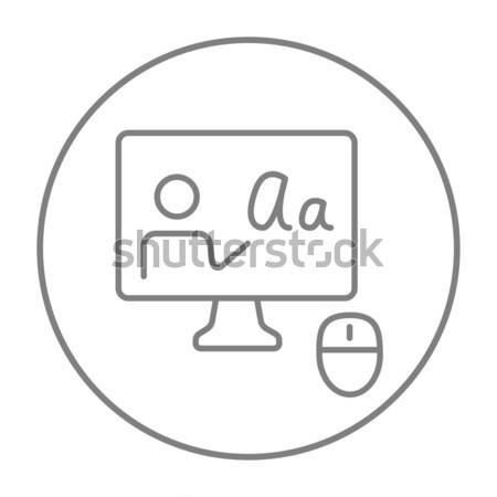 Ligne tutoriel craie portable souris Photo stock © RAStudio