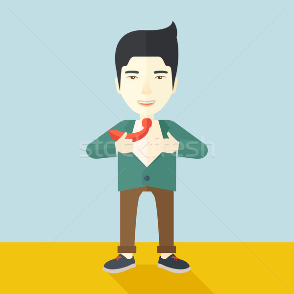 Happy Working man to change his clothes. Stock photo © RAStudio