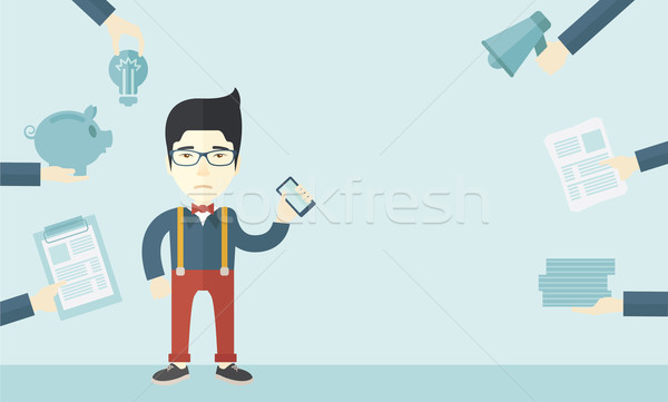 Japanese man with smartphone in hand. Stock photo © RAStudio