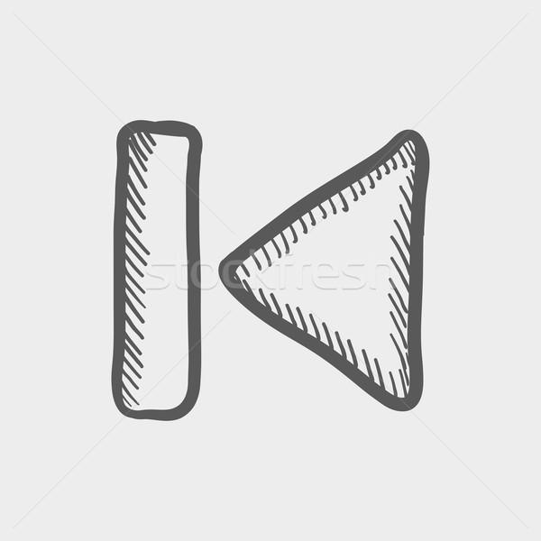 Korábbi gomb rajz ikon háló mobil Stock fotó © RAStudio