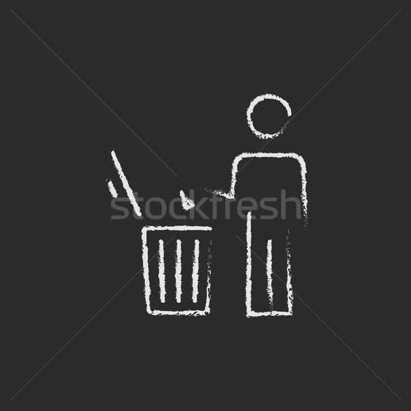 Man throwing garbage in a bin icon drawn chalk. Stock photo © RAStudio
