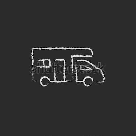 бесплатная доставка грузовика икона мелом рисованной Сток-фото © RAStudio