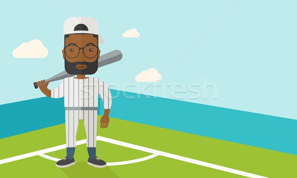 Jogador de beisebol campo em pé bat vetor projeto Foto stock © RAStudio