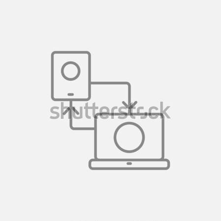 Foto d'archivio: Smartphone · laptop · line · icona · web · mobile