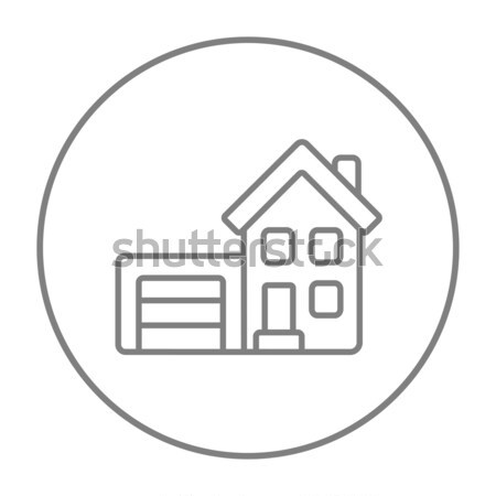 Stock photo: House with garage line icon.