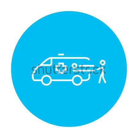 Stock photo: Man with patient and ambulance car line icon.