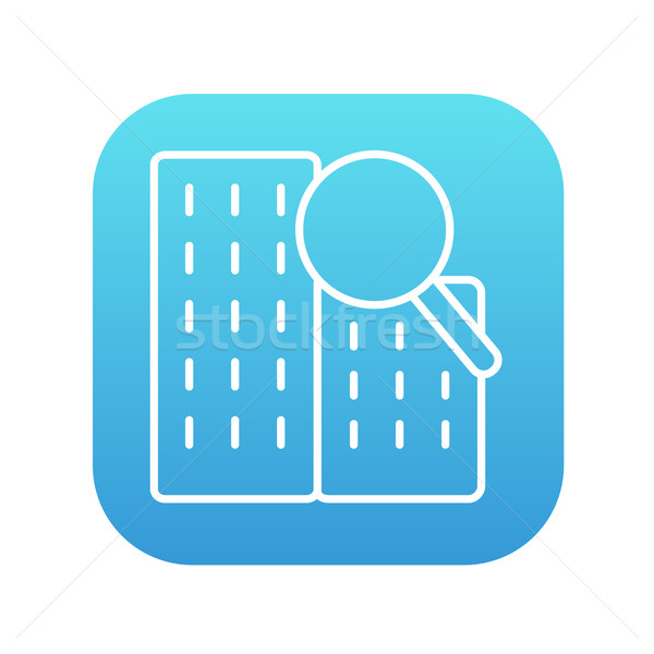 Condominium and magnifying glass line icon. Stock photo © RAStudio