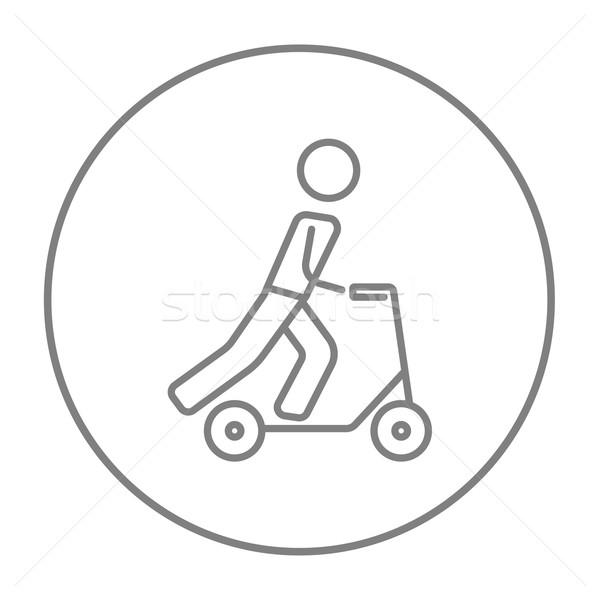 Man riding kick scooter line icon. Stock photo © RAStudio