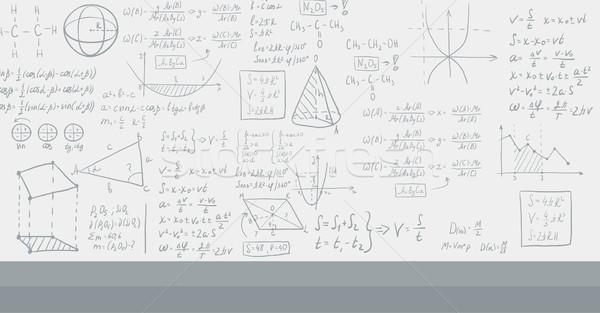 Background of white blackboard with mathematical equations. Stock photo © RAStudio