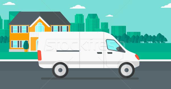 Ciudad camión de reparto vector diseno ilustración horizontal Foto stock © RAStudio