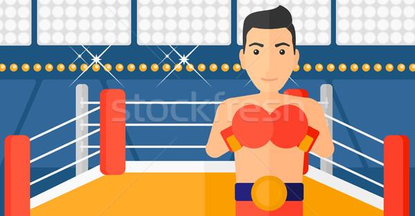 Боксер перчатки человека кольца вектора дизайна Сток-фото © RAStudio