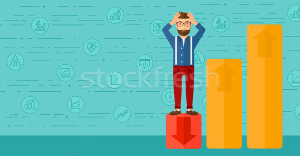 Businessman standing on low graph. Stock photo © RAStudio