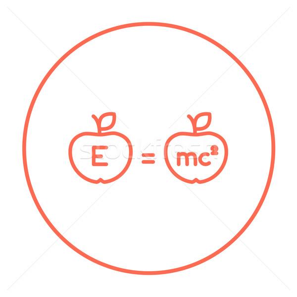 Two apples with formulae line icon. Stock photo © RAStudio