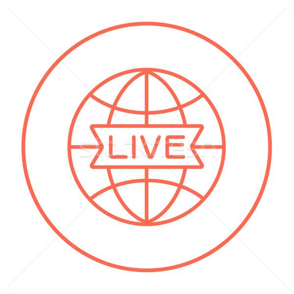 Wereldbol live teken lijn icon web Stockfoto © RAStudio
