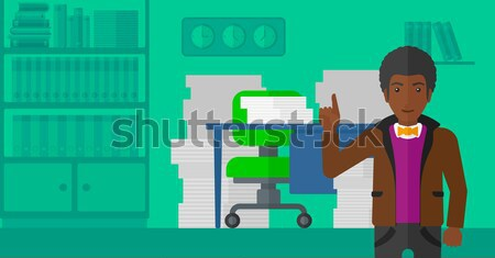 Businessman pointing up with his forefinger. Stock photo © RAStudio