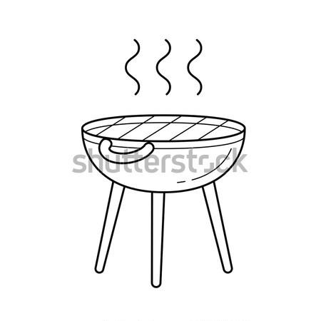 Bollitore barbecue line icona angoli web Foto d'archivio © RAStudio