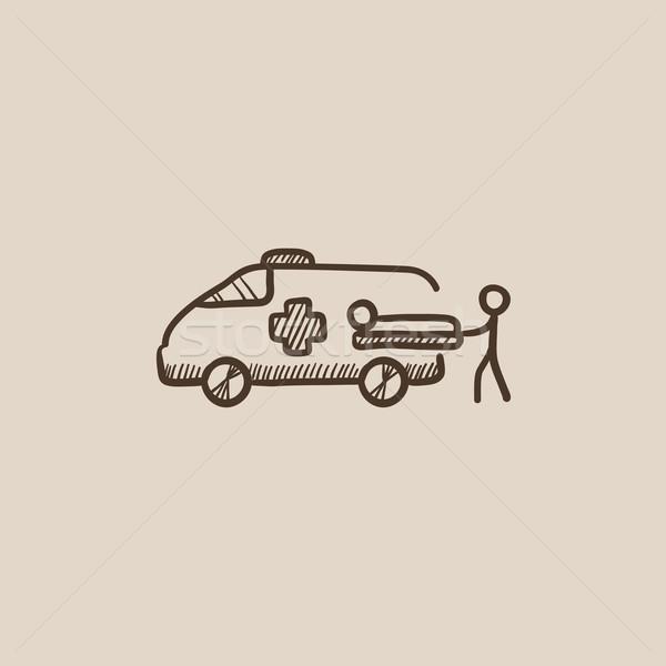 Man with patient and ambulance car sketch icon. Stock photo © RAStudio