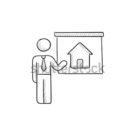 Makelaar tonen huis schets icon web Stockfoto © RAStudio