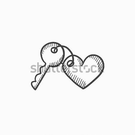 Bugiganga teclas coração esboço ícone teia Foto stock © RAStudio