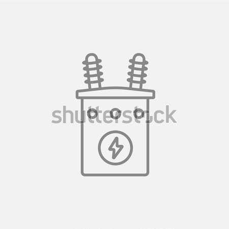 Stockfoto: Hoogspanning · transformator · lijn · icon · hoeken · web