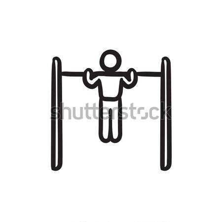 Tornász testmozgás bár vonal ikon sarkok Stock fotó © RAStudio