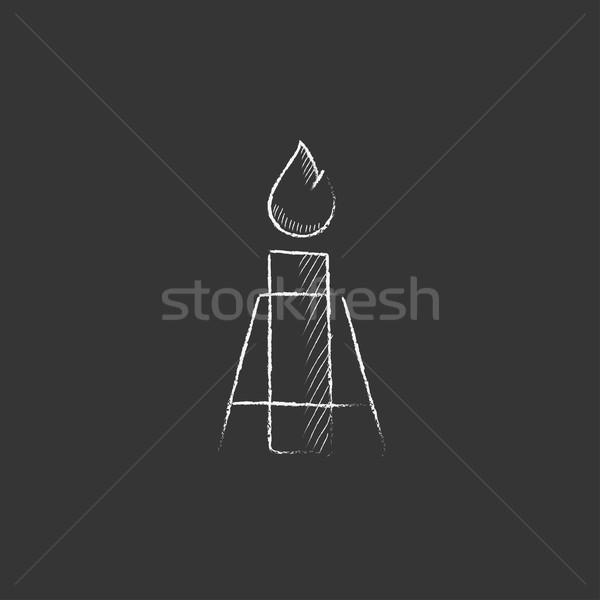 Gaz parlama tebeşir ikon Stok fotoğraf © RAStudio